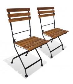 Καρέκλες Κήπου Πτυσσόμενες 2 τεμ. από Ατσάλι/Μασίφ Ξύλο Ακακίας  43734