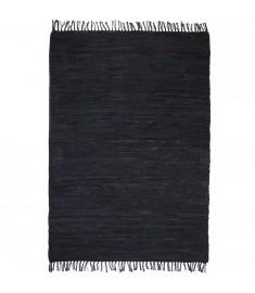 Χαλί Chindi Χειροποίητο Μαύρο 80 x 160 εκ. Δερμάτινο   245228