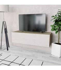 Έπιπλο Τηλεόρασης Γυαλιστ. Λευκό/Δρυς 120x40x34 εκ. Μοριοσανίδα  244871