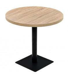 Τραπέζι Bistro Στρογγυλό Χρώμα Δρυός 80 x 75 εκ. MDF / Ατσάλι  245613