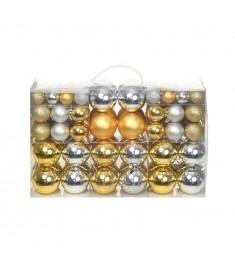 Σετ Μπάλες Χριστουγεννιάτικες 100 τεμ. Ασημί/Χρυσές 6 εκ.  245719