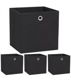 Κουτιά Αποθήκευσης 4 τεμ. Μαύρα 32x32x32 εκ. Ύφασμα Non-woven