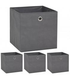Κουτιά Αποθήκευσης 4 τεμ. Γκρι 32x32x32 εκ. Ύφασμα Non-woven  245747