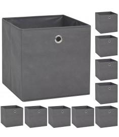 Κουτιά Αποθήκευσης 10 τεμ. Γκρι 32x32x32 εκ. Ύφασμα Non-woven  245748
