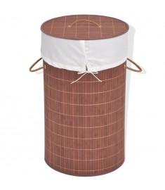 Καλάθι Απλύτων Στρογγυλό Καφέ από Μπαμπού   245578