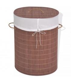 Καλάθι Απλύτων Οβάλ Καφέ από Μπαμπού  245580