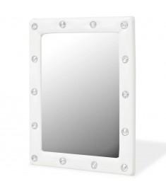 Καθρέφτης Τοίχου Γυαλιστερό Λευκό 40 x 50 εκ. Συνθετικό Δέρμα   245592