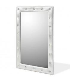Καθρέφτης Τοίχου Γυαλιστερό Ασημί 60 x 90 εκ. Συνθετικό Δέρμα   245604