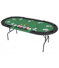 Τραπέζι Πόκερ 9 Ατόμων Πτυσσόμενο Οβάλ Πράσινο   80210