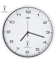 Ρολόι Τοίχου Ραδιοελεγχόμενο με Μηχανισμό Quartz Λευκό 31 εκ.