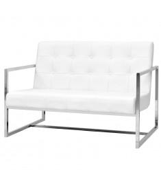 Καναπές Διθέσιος με Μπράτσα Λευκός Συνθετικό Δέρμα και Ατσάλι    245528