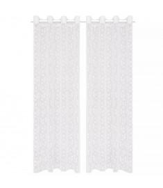 Κουρτίνες Διάφανες Warp Knit 2 τεμ. Φύλλα Λευκές 140 x 225 εκ.   133123