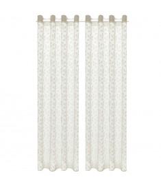 Κουρτίνες Διάφανες Warp Knit 2 τεμ. Φύλλα Κρεμ 140 x 225 εκ.  133126
