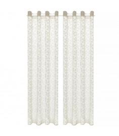 Κουρτίνες Διάφανες Warp Knit 2 τεμ. Φύλλα Κρεμ 140 x 245 εκ.   133127