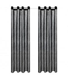 Κουρτίνες Διάφανες Κεντημένες 2 τεμ. Μαύρες 140 x 225 εκ.   133144