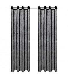 Κουρτίνες Διάφανες Κεντημένες 2 τεμ. Μαύρες 140 x 245 εκ.   133145