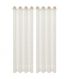 Κουρτίνες Διάφανες Υφαντές Ριγέ 2 τεμ. Κρεμ 140 x 175 εκ.  133191
