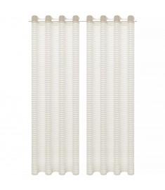 Κουρτίνες Διάφανες Υφαντές Ριγέ 2 τεμ. Κρεμ 140 x 245 εκ.  133193