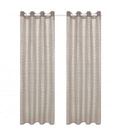 Κουρτίνες Διάφανες Υφαντές Ριγέ 2 τεμ. Μπεζ 140 x 245 εκ.  133196