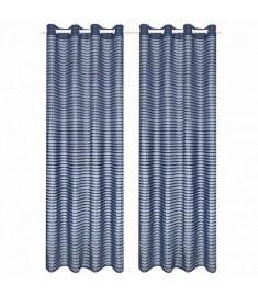 Κουρτίνες Διάφανες Υφαντές Ριγέ 2 τεμ. Μπλε 140 x 245 εκ.  133205