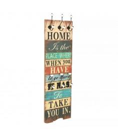 Κρεμάστρα Τοίχου «HOME IS» με 6 Γάντζους 120 x 40 εκ.   245848