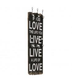 Κρεμάστρα Τοίχου «LOVE LIVE» με 6 Γάντζους 120 x 40 εκ.   245853