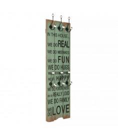Κρεμάστρα Τοίχου «HAPPY LOVE» με 6 Γάντζους 120 x 40 εκ.   245855