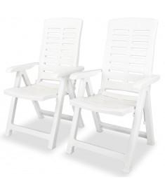 Καρέκλες Κήπου Ανακλινόμενες 2 τεμ. Λευκές Πλαστικές  43895