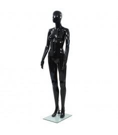 Κούκλα Βιτρίνας Γυναικεία Γυαλιστ. Μαύρη 175 εκ με Γυάλινη Βάση    142929