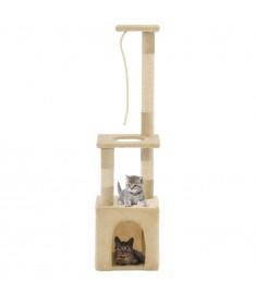 Γατόδεντρο Μπεζ 109 εκ. με Στύλους Ξυσίματος από Σχοινί Σιζάλ  170604