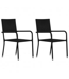 Καρέκλες Τραπεζαρίας Εξωτ. Χώρου 2 τεμ. Μαύρες Συνθετικό Ρατάν  43929