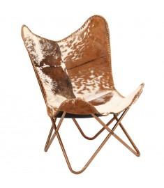 Καρέκλα Πεταλούδα Καφέ και Λευκό από Γνήσιο Δέρμα Κατσίκας  246391