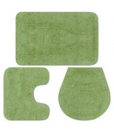 Σετ Πατάκια Μπάνιου 3 τεμ. Πράσινα Υφασμάτινα  133225