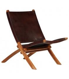 Καρέκλα Καφέ 59 x 72 x 79 εκ. από Γνήσιο Δέρμα  246363