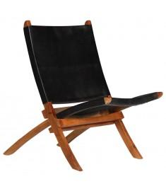 Καρέκλα Μαύρη 59 x 72 x 79 εκ. από Γνήσιο Δέρμα  246364