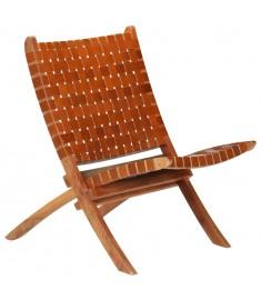 Καρέκλα Καφέ 59x72x79 εκ. από Γνήσιο Δέρμα με Χιαστί Λωρίδες   246365