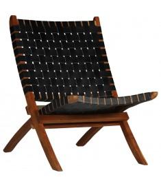 Καρέκλα Μαύρη 59x72x79 εκ. από Γνήσιο Δέρμα με Χιαστί Λωρίδες   246366