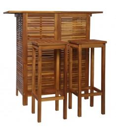 Σετ Τραπέζι και Σκαμπό Μπαρ 3 τεμ. από Μασίφ Ξύλο Ακακίας  44008
