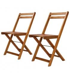 Καρέκλες Bistro Εξωτερικού Χώρου 2 τεμ. από Μασίφ Ξύλο Ακακίας  44012