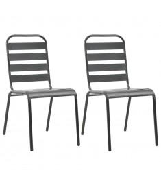 Καρέκλες Κήπου Στοιβαζόμενες 2 τεμ. Γκρι Ατσάλινες  44257
