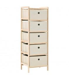 Συρταριέρα με 5 Καλάθια Μπεζ από Ξύλο Κέδρου / Ύφασμα  246434
