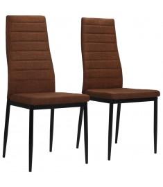 Καρέκλες Τραπεζαρίας 2 τεμ. Καφέ Υφασμάτινες  246183