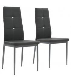 Καρέκλες Τραπεζαρίας 2 τεμ. Γκρι 43x43,5x96 εκ. από Δερματίνη  246185