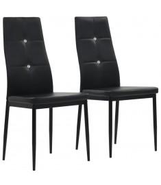 Καρέκλες Τραπεζαρίας 2 τεμ. Μαύρες 43x43,5x96 εκ. από Δερματίνη  246187