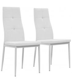 Καρέκλες Τραπεζαρίας 2 τεμ. Λευκές 43x43,5x96 εκ. από Δερματίνη  246189