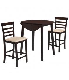 Σετ Τραπέζι και Καρέκλες Μπαρ 3 τεμ. Σκούρο Καφέ Μασίφ Ξύλο  275228