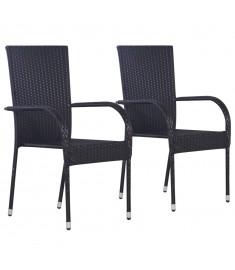 Καρέκλες Κήπου Στοιβαζόμενες 2 τεμ. Μαύρες από Συνθετικό Ρατάν  44238