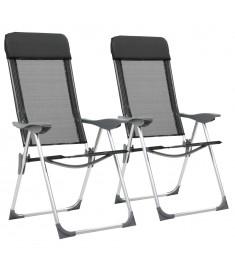 Καρέκλες Camping Πτυσσόμενες 2 τεμ. Μαύρες από Αλουμίνιο   44305
