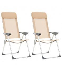 Καρέκλες Camping Πτυσσόμενες 2 τεμ. Κρεμ από Αλουμίνιο   44306