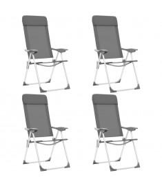 Καρέκλες Camping Πτυσσόμενες 4 τεμ. Γκρι από Αλουμίνιο  44307